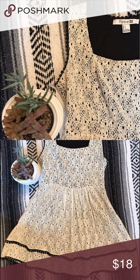 Lace Cream Dress! Super cute lace cream dress from Forever 21. Size S. Only worn once, and in great condition! Forever 21 Dresses