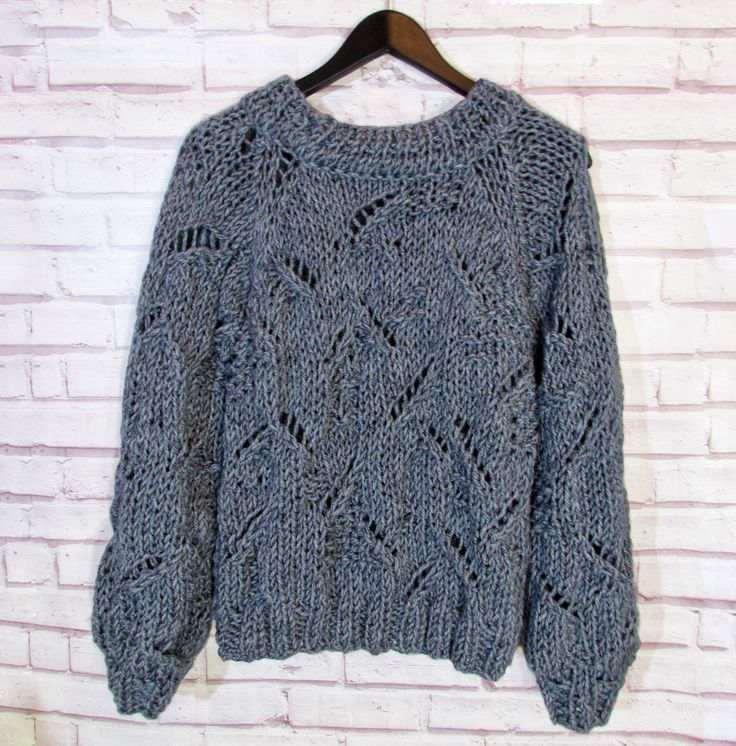 Women's blue sweater|Hand knitted clothes|Chunky knit jumper|Oversize clothes|Woolen sweater|Winter clothes|Knitwear for women|Women sweater