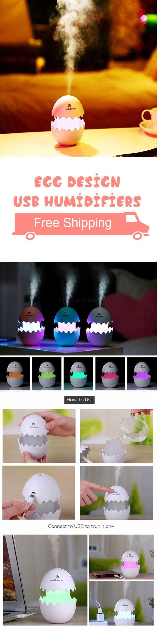 White Mini Humidifiers Egg Design USB Electric Ultrasonic Aroma Cool Mist