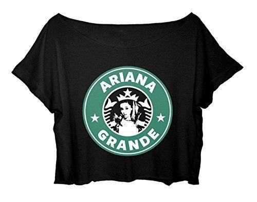 Women's Crop Top Ariana Grande T-Shirt Mermaid Princess Ariana Grande Tee Shirt (Black)