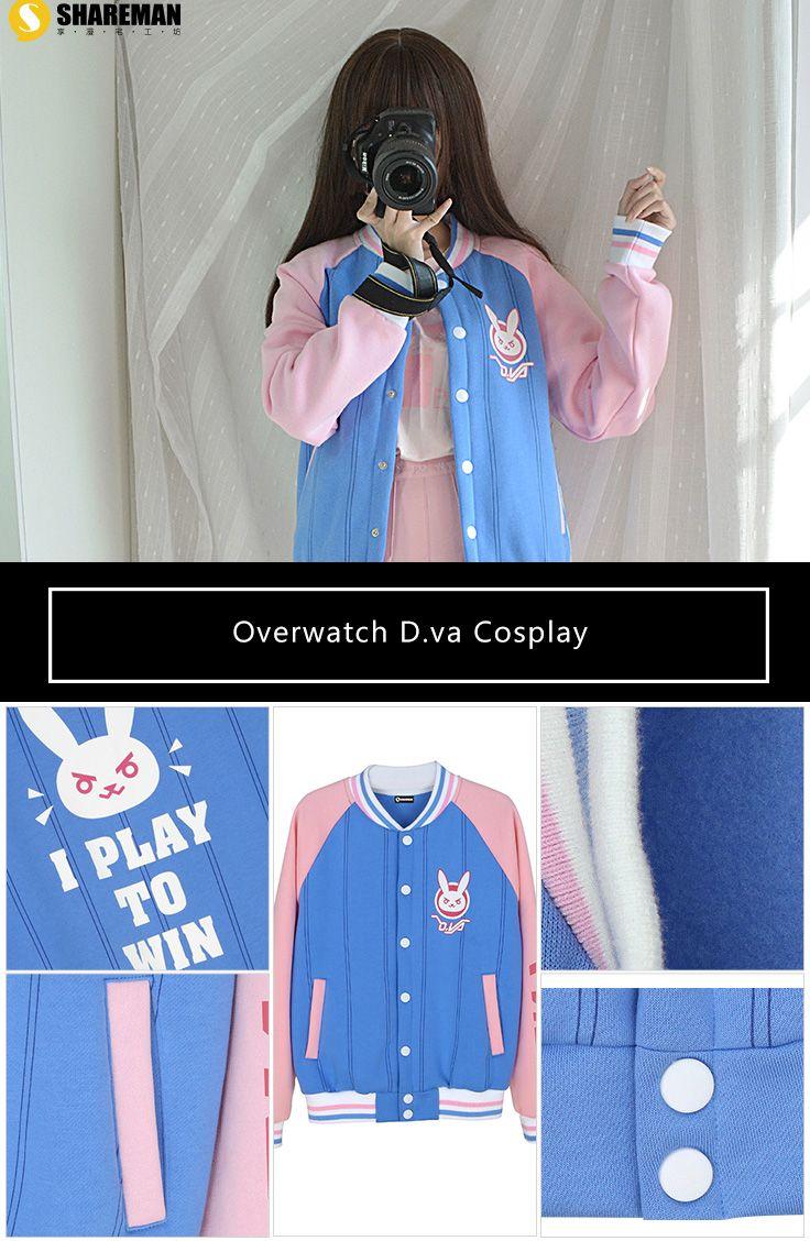 Overwatch D.va Cosplay Baseball Jacket sells at Miccostumes #cosplay #miccostumes #gamerelatedproducts #Overwatch #Dva #dvaBaseballJacket #overwatchcosplay #dvacosplay