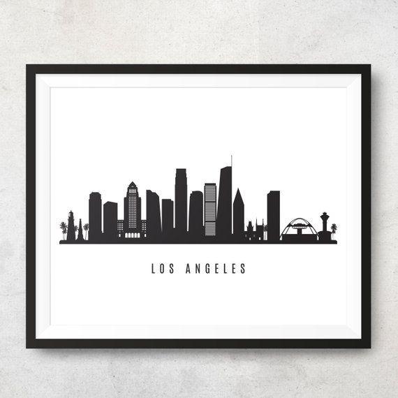 Los Angeles Skyline Printable Los Angeles Black White Wall Art Poster Cityscape Digital Print Vector Illustration Jpg Png Eps Black And White Wall Art White Wall Art Los Angeles Skyline
