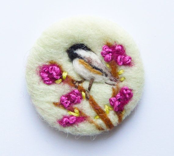 Bird Brooch, Chickadee bird brooch, Needle felted brooch, Coal Tit, Wool, Pin, Love gift, Endearment, felt brooch, Mothers Gift for her