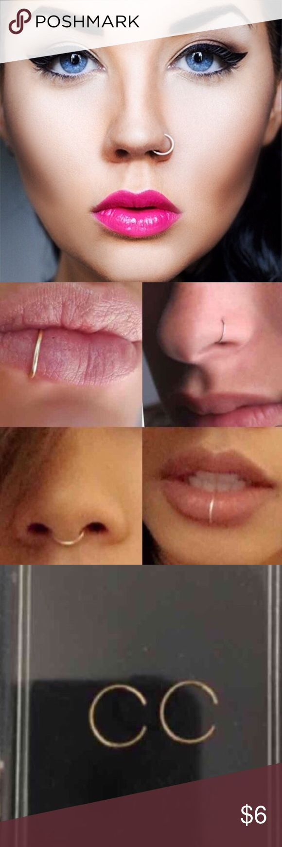 Fake lip and nose rings.. brand new..Never used Fake lip and nose ring  One fake lip ring  One fake nose ring Color:Gold Brand new/Never used--bundle and get this for $3 MAC Cosmetics Makeup Lipstick