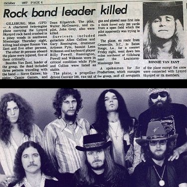 Today in 1977, 3 members of Lynyrd Skynyrd, including Ronnie Van Zant were killed in a plane crash in Gillsburg, MS