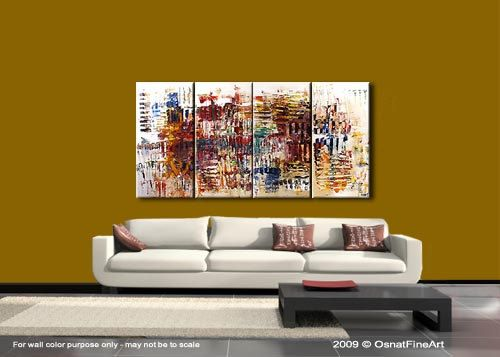 PINTURA a medida - pintura abstracta colorida moderna contemporánea Original por Osnat. Como este es un cuadro hecho por encargo, se será lo más cerca posible a la que ves aquí, que ya han vendido. Marco de tiempo para crear: 4-5 días laborales. Nombre de la pintura: Interacción Tamaño: 60 x 30 (4 x 15 x 30) Medio: Acrílico sobre lienzo estirado galería-envuelto Es siempre un certificado de autenticidad. Colores: Pinturas de colores sobre fondo blanco. Interacción es una abstracta pintura…