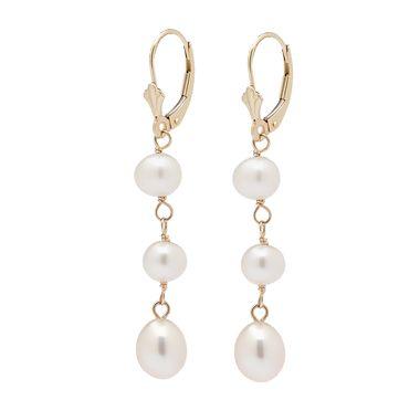 14K Yellow Gold Freshwater Pearl Drop Earrings