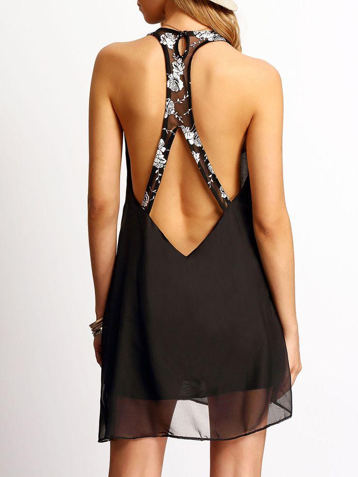 Vestido sin manga sin espalda gasa-(Sheinside)