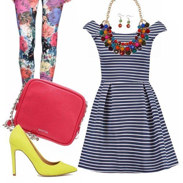 Outfit dall'aria primaverile e all'insegna dell'allegria. Le righe del vestito scampanato incontrano le rose stampate sui leggings in un mix di fantasie e sfumature. Un'esplosione di colore anche per gli accessori: décolleté gialla, tracolla fucsia e parure multicolor.