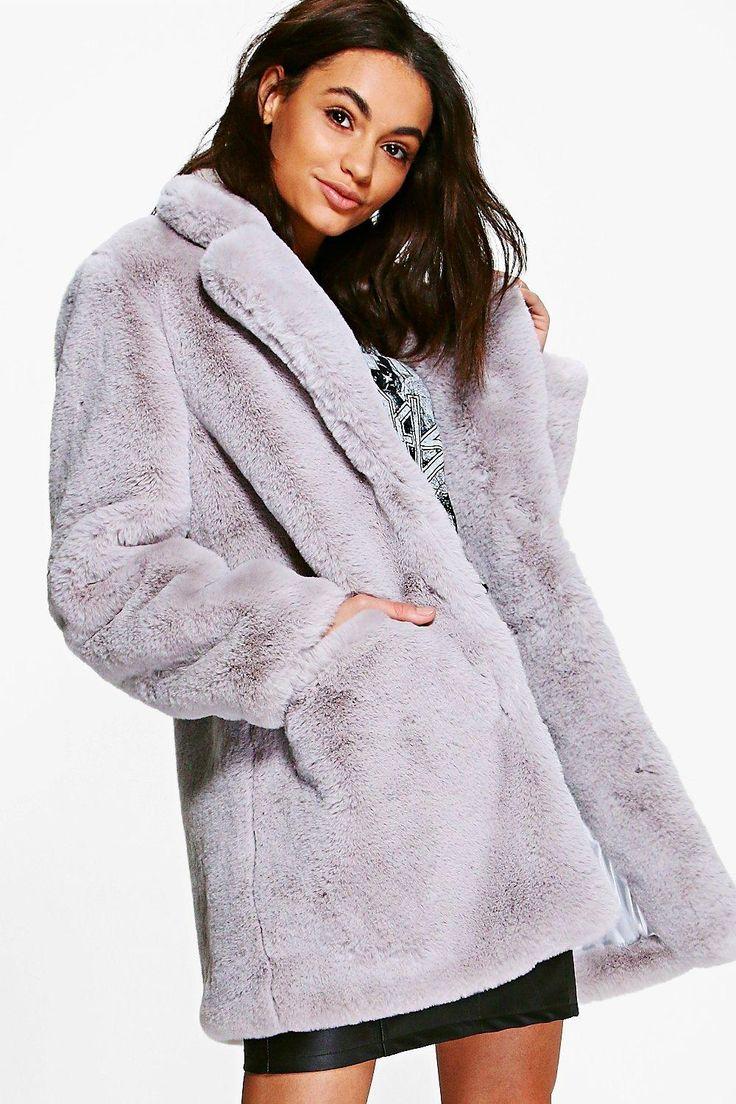 Boutique Brooke Light Grey Faux Fur Coat