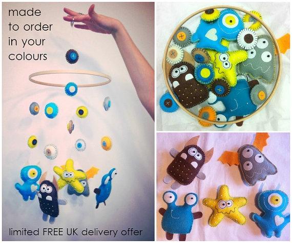 Custom made Little Monster Baby Mobile  MADE by PrincessAllipops, £35.00