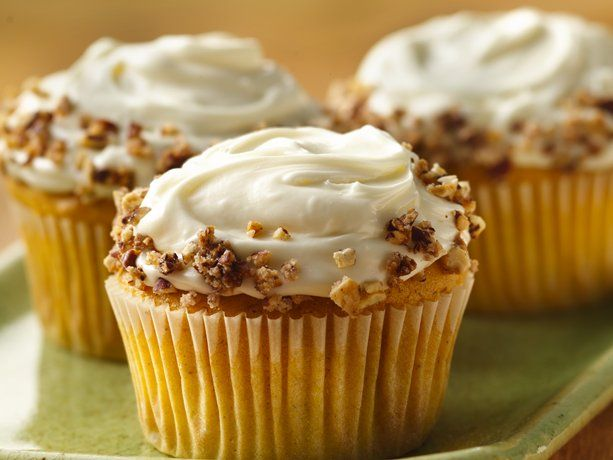Spiced Pumpkin Cupcakes with Cream Cheese Icing and sugared pecans. From Betty Crocker. I actually turned this into a bundt cake, with drizzled homemade vanilla icing and dropped the pecans on top. Perfect.