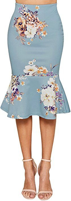 Trend Director Women's Midi High Waist Boho Floral Printed Skirt Mermaid / Trumpet Skirt Elastic-Waist Pencil Skirt in Pink, Mauve, and Blue (Large, Blue)