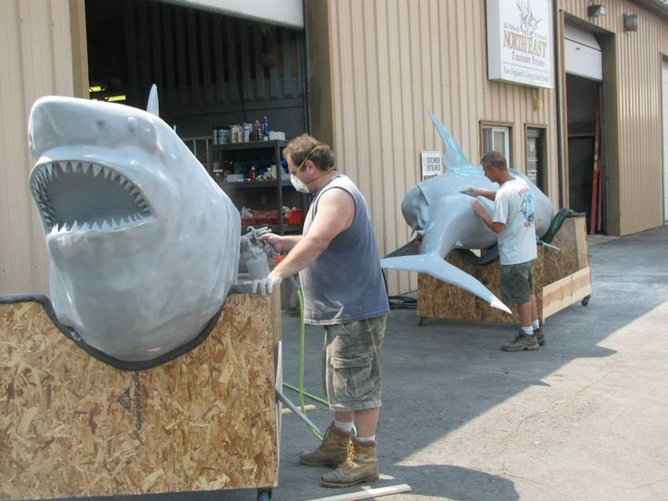 Joe and kevin from northeast taxidermy preparing two great for Life size shark plush