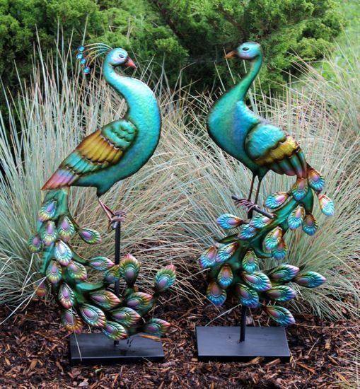 2 standing metal peacocks on stands 32 inches tall garden decor yard ornament new arrivals - Outdoor peacock decorations ...