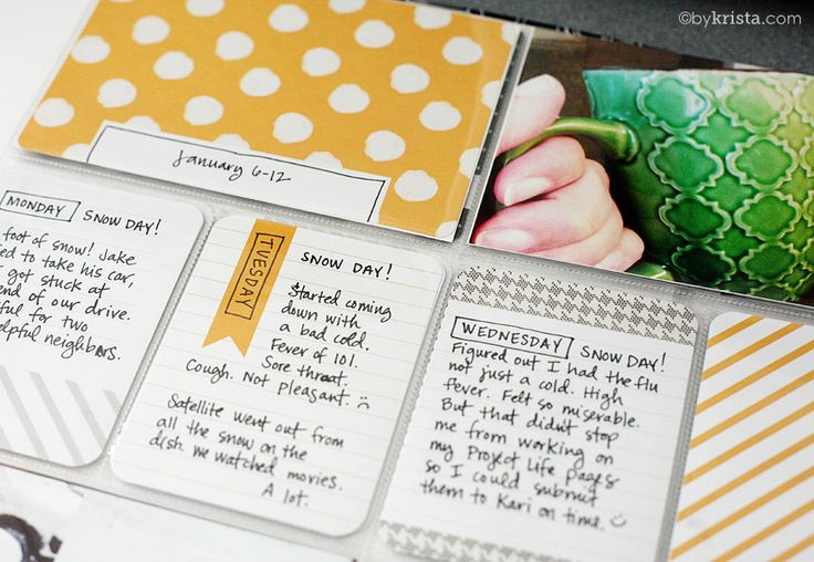 Project LIFE idea: Super simple but look neat...outline day of the week in with a rectangle.  Also outline the date card box. Simple but adds a finishing touch.