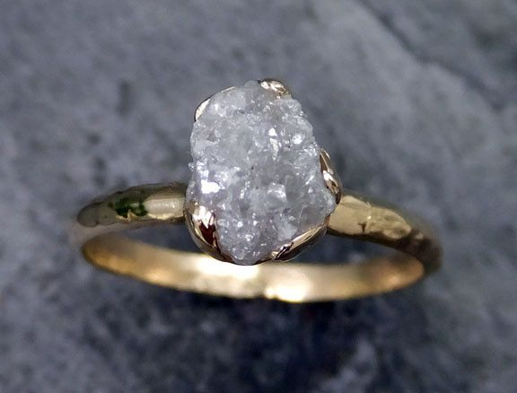 Raw Diamond Engagement Ring Rough Uncut Solitaire Recycled 14k Gold Conflict Free Wedding Promise Rings