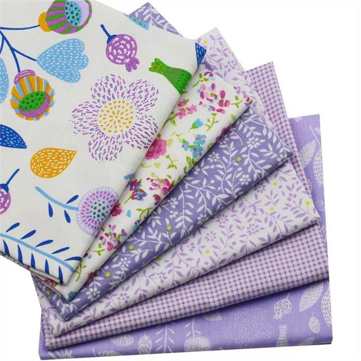 6pcs 40x50cm Flower Lattice Purple Cartoon Series Cotton Fabric Sewing Patterns Patchwork Quilting Clothing Child Quilt Curtain  #Affiliate