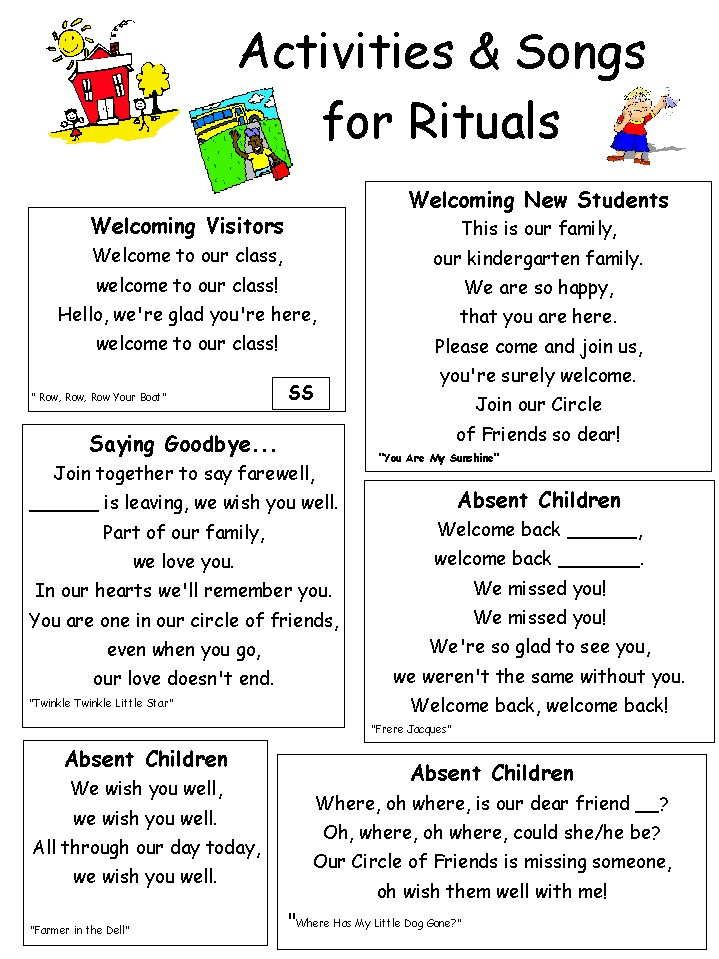 """Good CD DIY resources on this site! Absent child ritual, Leaving School Family ritual, Welcome to our School family letter, and more, with colorful graphics. Be sure to click """"back"""" all the way to the home page - fabulous resources everywhere! Wish I could find the author to attribute (Mrs. Taylor?). #iheartcd"""