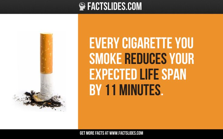 34 Facts about Smoking ←FACTSlides→ Every cigarette you smoke reduces your expected life span by 11 minutes.
