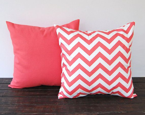 "Coral throw pillow covers Pair 18"" x 18"" cushion cover coral chevron pillow covers modern minimalist decor on Etsy, $34.00"