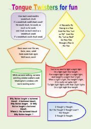 How to write a tongue twister worksheet