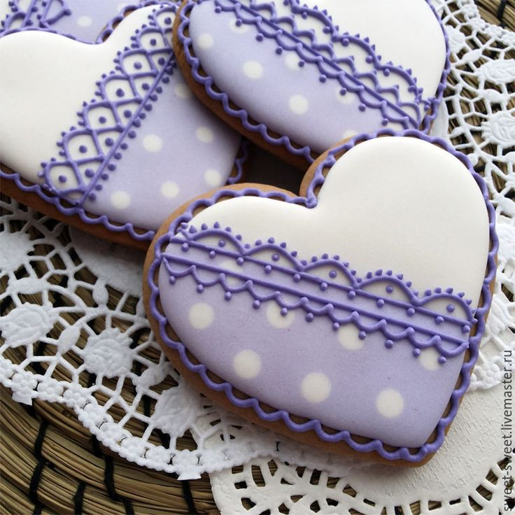 Lilac and white heart lace cookies