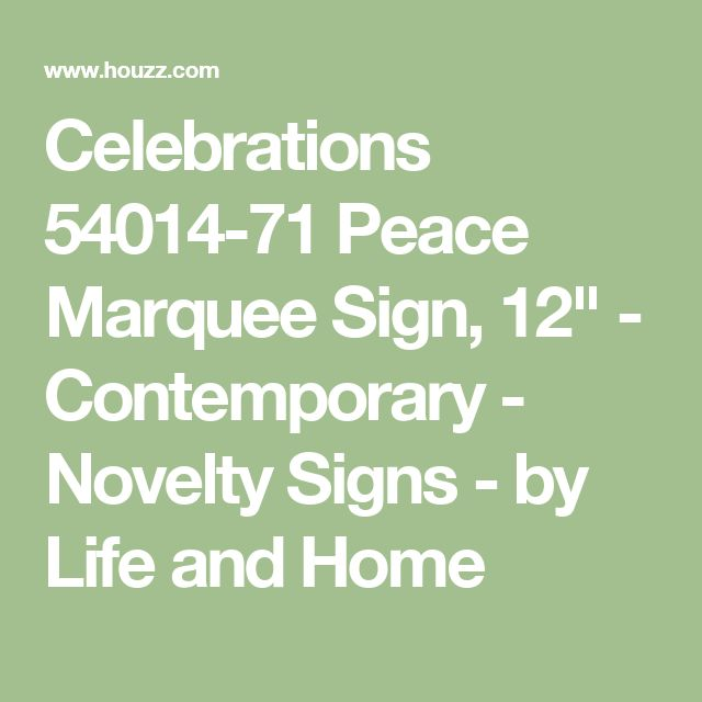 """Celebrations 54014-71 Peace Marquee Sign, 12"""" - Contemporary - Novelty Signs - by Life and Home"""