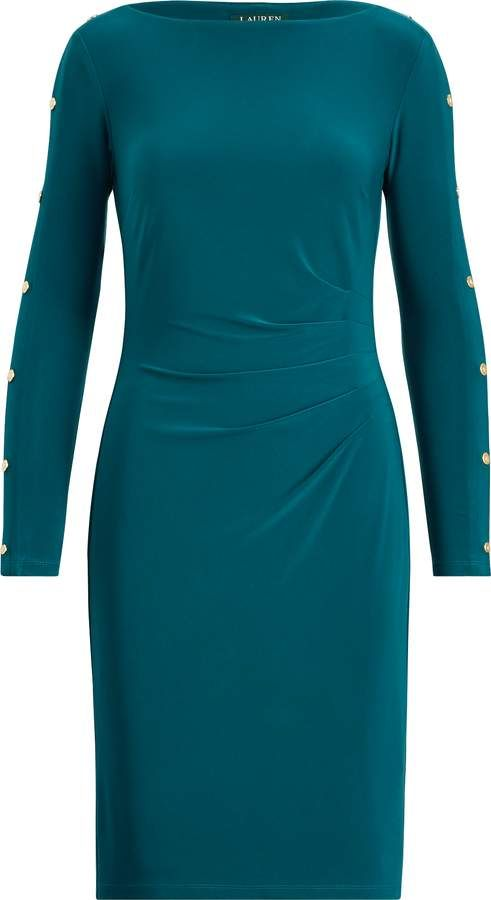 51276def04 Ralph Lauren Button-Trim Matte Jersey Dress | Products | Dresses ...
