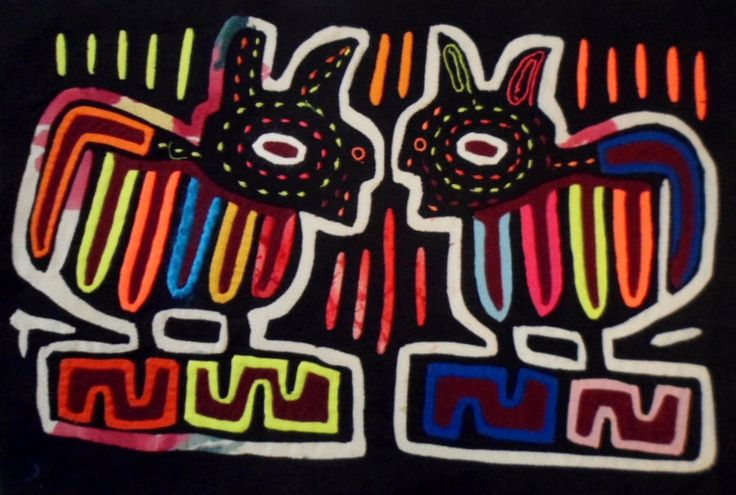 Kuna Indian GOSSIP MUTT PUPPY DOG Mola Art-Panama 15102422L
