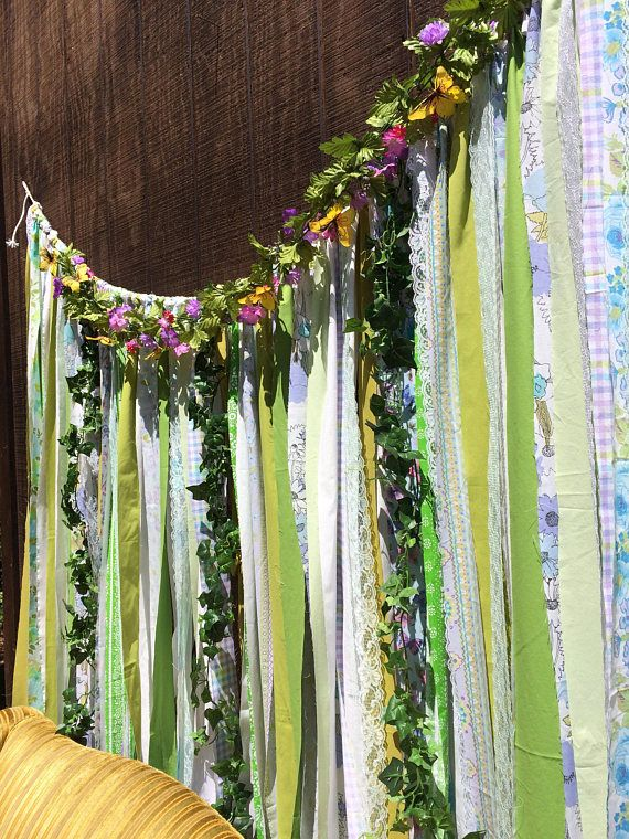 Woodsy Garland Ribbon Curtain Fairygarden Faerie Unicorn Enchanted Forest Woodland Backdrop Aqua Lavender Purple Lime Green ~Boho Hippie