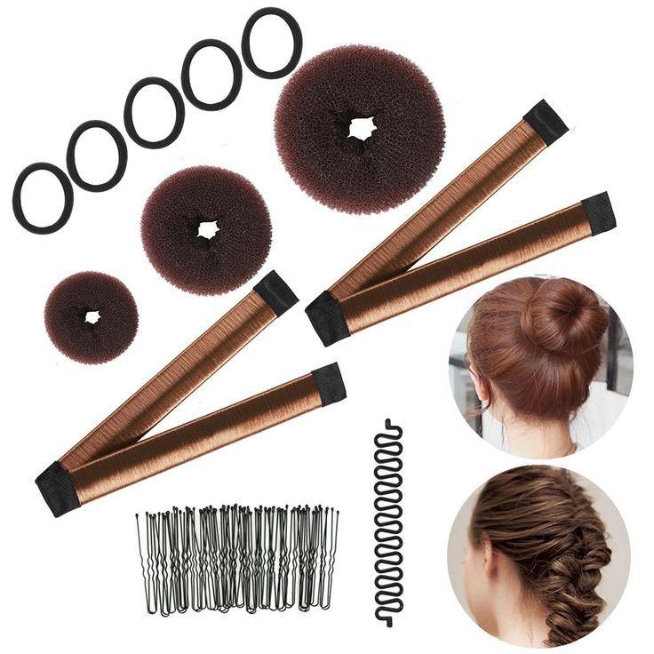 Magic Hair Styling Kit French Donut Bun Maker Braiding Tool Hair Ties Hair Bobby Pins Clips For Women Girls New Site Magic Hair Braid Tool Hair Ties