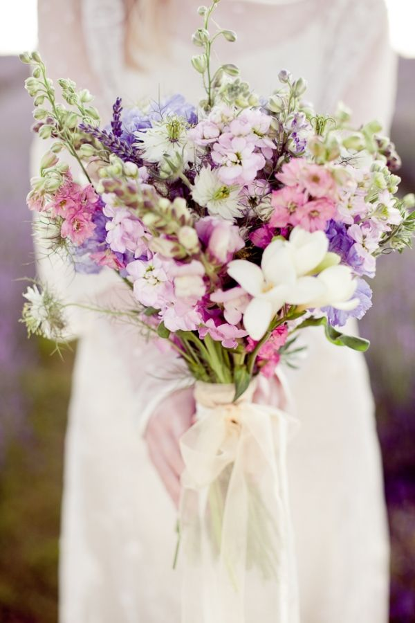 Lavender-colored wildflower bouquet