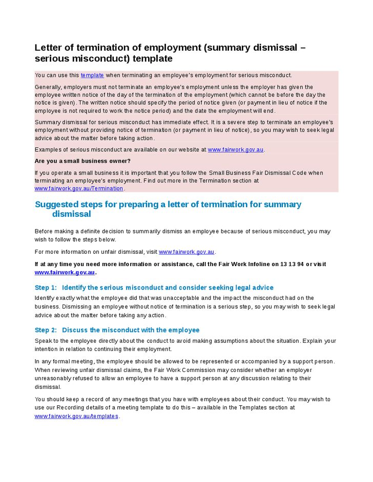 Misconduct Template You Can Use This When Terminating Dismissal