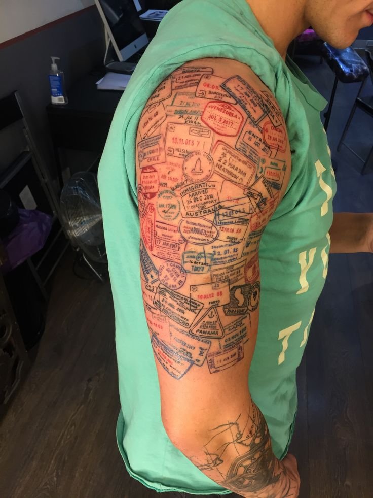 Stamps travelling travel themed tattoo | Tattoos | Tattoos ...