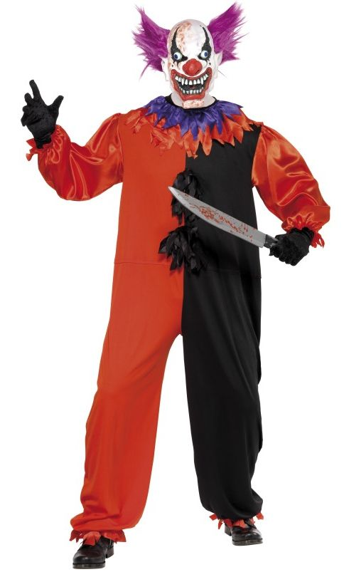 Scary Bo Bo The Clown Costume. Perfect for creepy carnival or creepy circus themed Halloween parties, creepy clown, creepy circus and creepy carnival fancy dress, creepy circus themed Halloween party decorations, creepy clown themed Halloween party decorations and creepy carnival themed Halloween party decorations. More