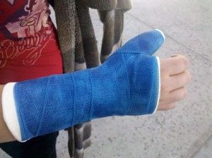 Kira's broken thumb