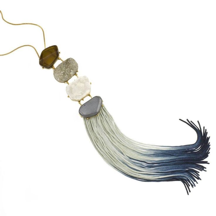 John Wind Jewelry Necklace Azure Ombre Fringe Ladder Blue Tassel  Anthropologie #JohnWind
