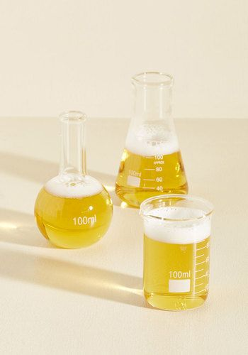 Whether you're following a recipe to a T or concocting your own chemistry project of a cocktail, these petite lab flasks will have you feeling like a drink genius! Or, if you're in a creative mood, you can use the beaker, round-bottom flask, and Erlenmeyer flask as vases, spice storage, or anything else your aptly original mind can think up.
