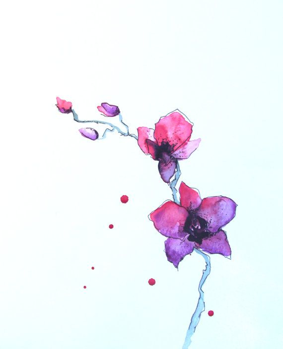 Pink Purple Orchids Watercolor Painting by PaintOutsidetheLines, $16.00