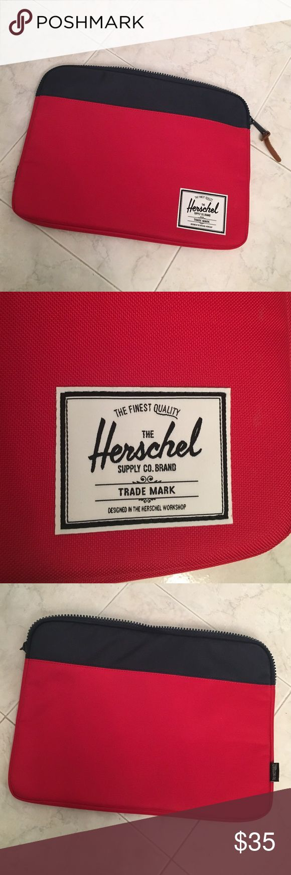 Herschel laptop case NWOT Herschel laptop sleeve with fuzzy interior lining.  Canvas like exterior. Never used but purchasing tags have been removed, received as a gift.  authentic Herschel Supply Company Bags Laptop Bags