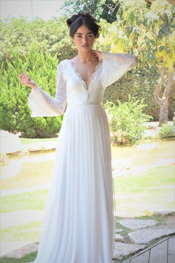 Ella - Romantic wedding dress with long lace sleeves and chiffon skirt, boho wedding dress, backless  wedding dress, beach wedding dress
