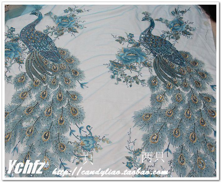 Approx $15 per metre. Sky Blue Phoenix Peacock yarn embroidery cutwork sequins lace cheongsam clothing DIY handmade cloth fabric - Taobao