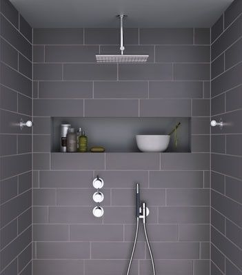 Large tiled, walk in showers- like the look of the large subway tiles. Love the inbuilt shelf as well