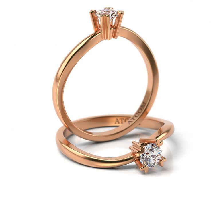 Inel de logodna cu diamant Haleb din aur roz