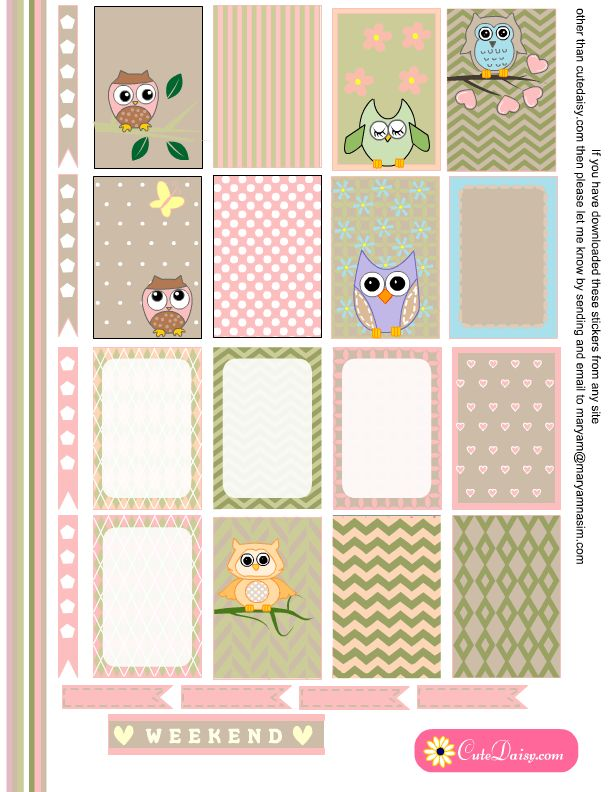 Free Printable Owl Planner Stickers from Cute Daisy