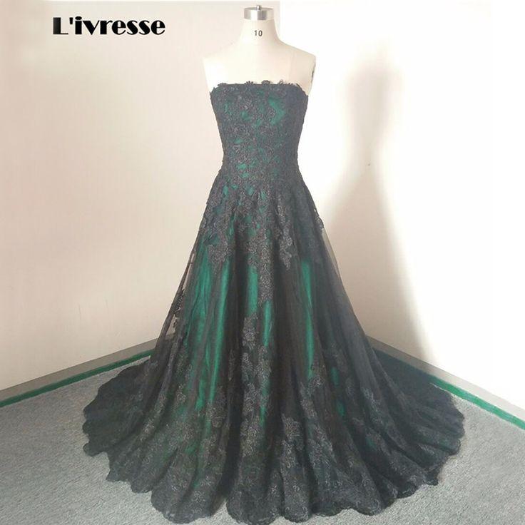 >> Click to Buy << Real Photos Strapless Black Evening Dresses Long Green Lace Up Back Formal Dresses Avondjurken Court Train #Affiliate