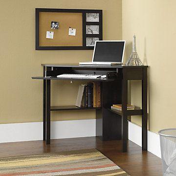 Sauder Beginnings Corner Computer Desk Cinnamon Cherry Large Drawer Shelf With Flip Down Panel For Keyboard Mouse Or Laptop