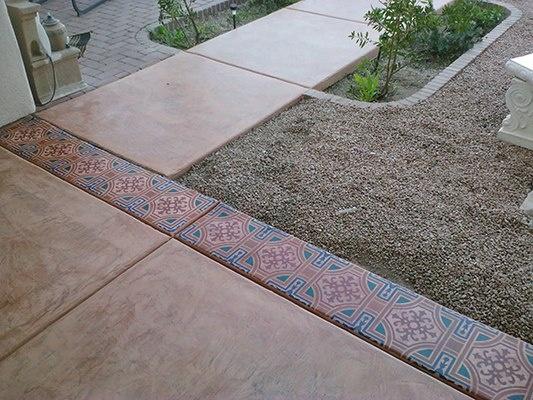 Concrete Artist Ray Redondo Of Arizona Uses SkimStone And A Modello®  Designs Ornamental Allover Masking Stencil On This Exterior Walkway.