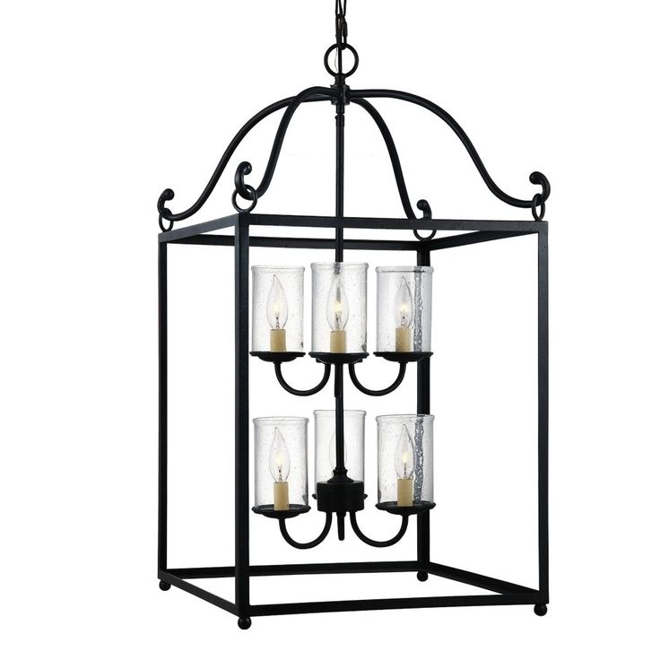 The Declaration lighting collection by Feiss is a series of large, traditional lanterns featuring open frames finished in Antique Forged Iron. The bulbs are surrounded by Clear Seeded glass shades to add warmth, depth and sparkle.